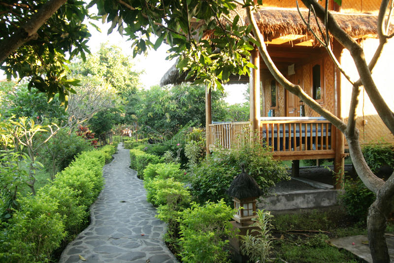 Cabins. Little cabins with path in Bali Indonesia royalty free stock photo