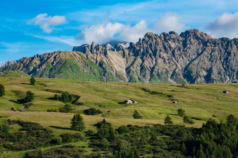 Cabins on Seiser Alm, Alpe de Siusi, Italy royalty free stock photo