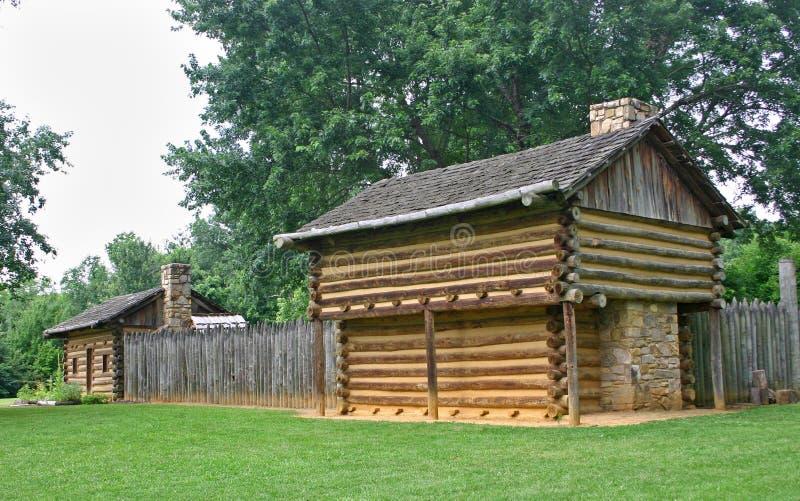 Cabins at Sycamore Shoals stock photo