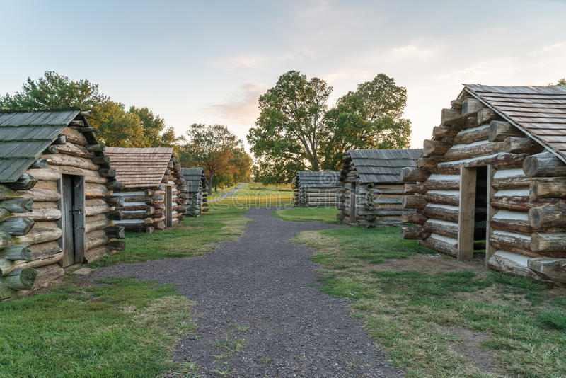 Cabins at Valley Forge National Park. Cabins at sunset along the Muhlenberg Brigade in Valley Forge National Historic Park, Pennsylvania stock photo