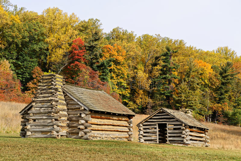 Cabins at Valley Forge. Reproductions of cabins used by Revolutionary War soldiers during the winter of 1777-78 under the command of George Washington. Located stock photography