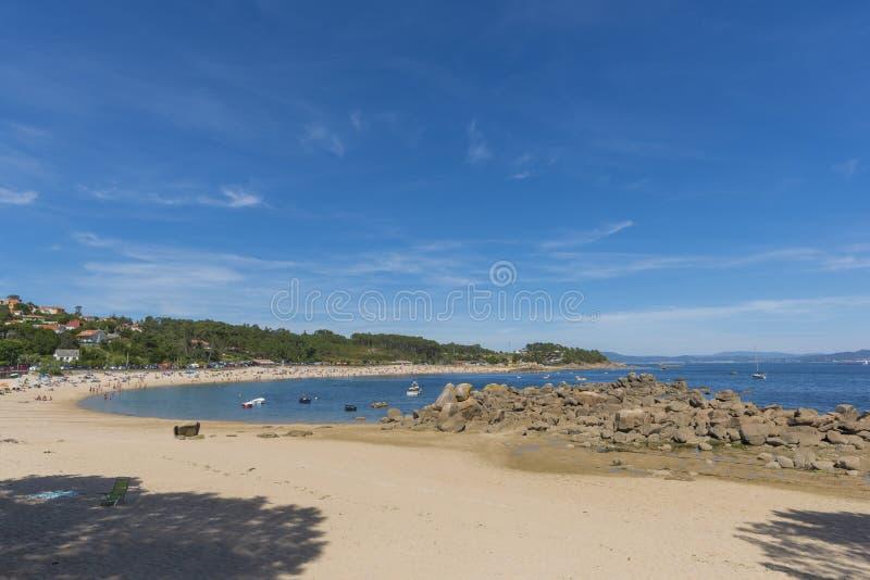 Cabio海滩Pobra做Caraminal, La拉科鲁尼亚队-西班牙 免版税库存图片