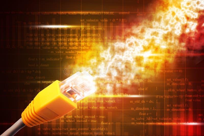 Cable amarillo del ordenador stock de ilustración