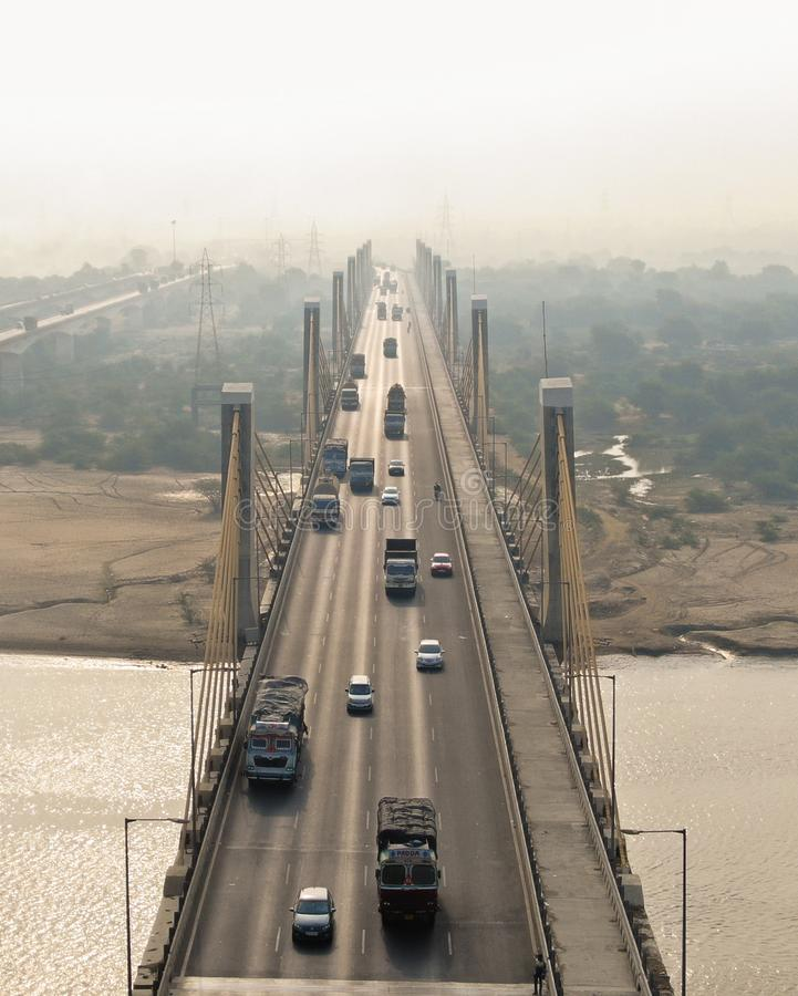 Cable bridge Bharuch royalty free stock photos
