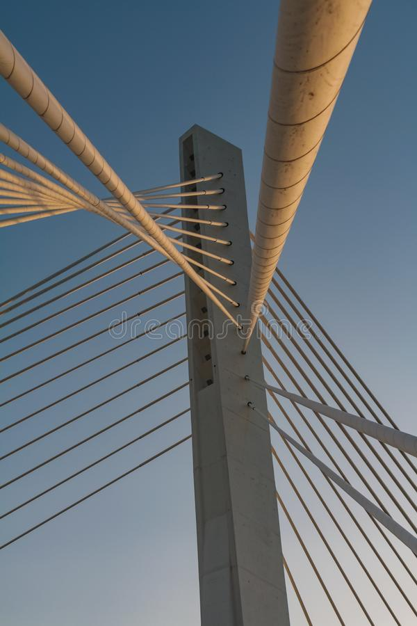Cable bridge construction in podgorica royalty free stock images