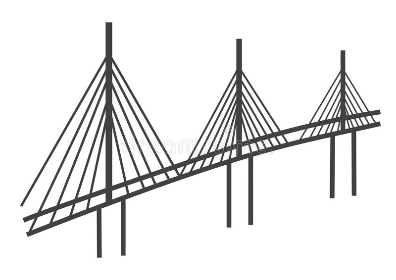 Cable bridge drawing. Simple illustration of tall cable bridge vector illustration