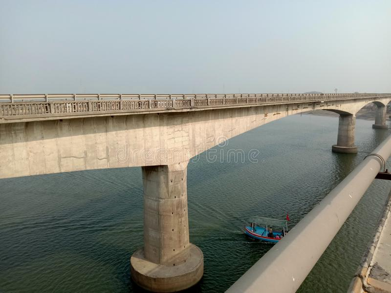 Cable bridge in india at gujrat state in bharuch city.  stock photography