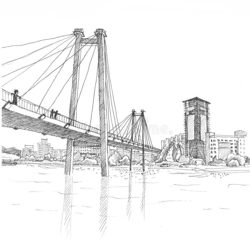 Cable bridge in Krasnoyarsk black and white. Sightseeing of Krasnoyarsk royalty free illustration