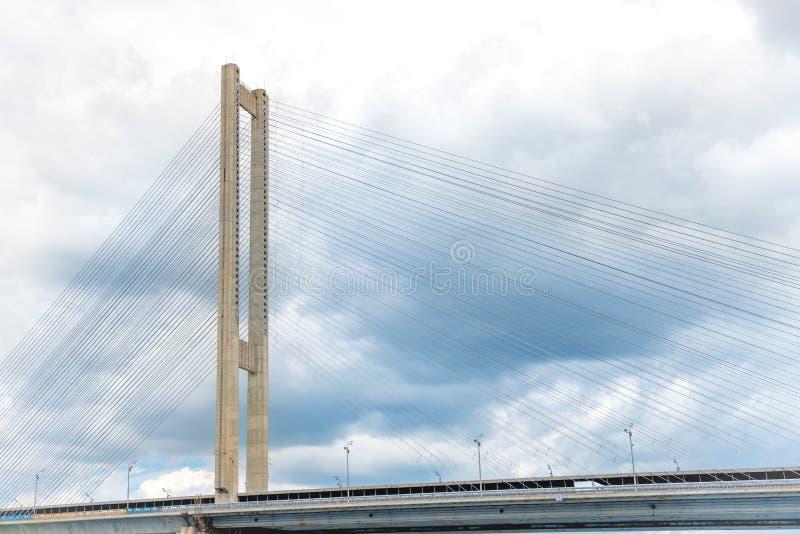 Cable bridge over river. Ukraine, Kiev, Dnepr stock image