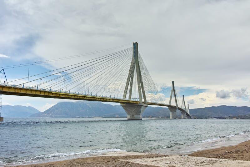 The cable bridge between Rio and Antirrio, Patra, Greece. The cable bridge between Rio and Antirrio, Patra, Western Greece royalty free stock image