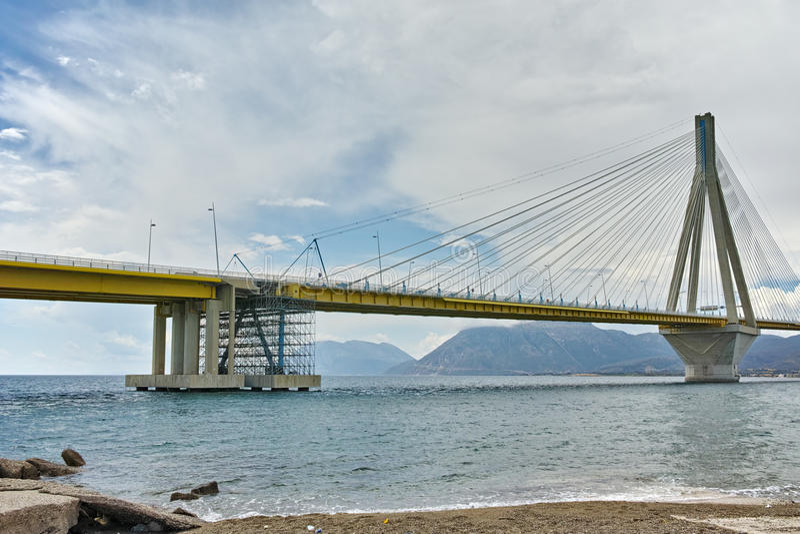 The cable bridge between Rio and Antirrio, Patra, Greece. The cable bridge between Rio and Antirrio, Patra, Western Greece royalty free stock photos