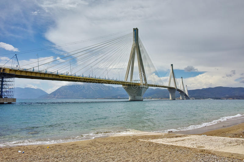 The cable bridge between Rio and Antirrio, Patra, Greece. The cable bridge between Rio and Antirrio, Patra, Western Greece stock images