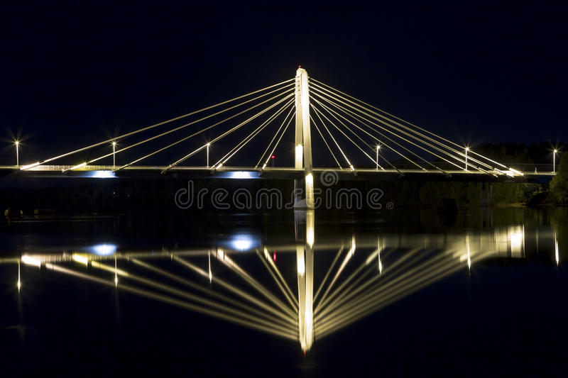 Cable Bridge in Umeå, Sweden. The Kolbäcksbron with the river Umeälv in front stock photography