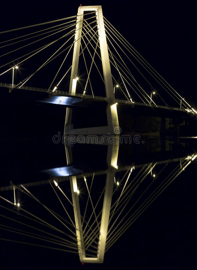 Cable Bridge in Umeå, Sweden. The Kolbäcksbron with the river Umeälv in front royalty free stock images