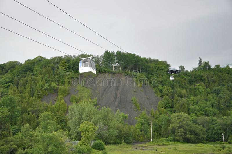 Cable Cabin above Montmorency Falls from Quebec Province in Canada. Cable Cabin above Montmorency Falls or Chute from Quebec Province in Canada on 28th June 2017 royalty free stock images