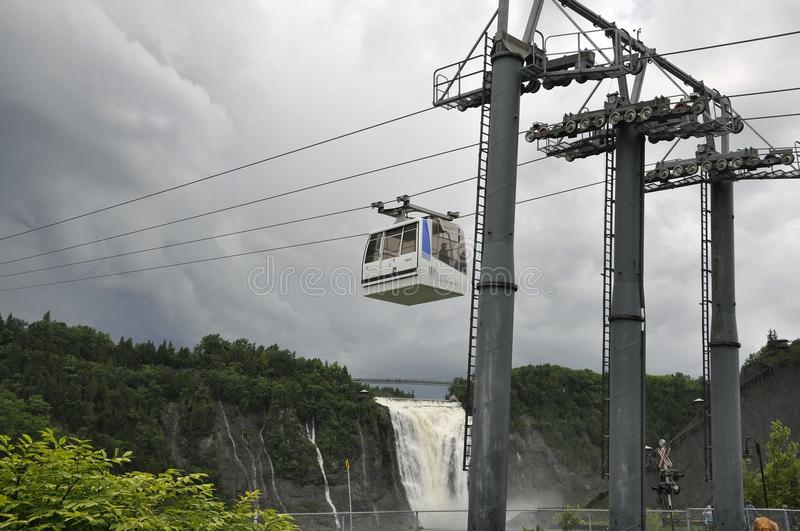 Cable Cabin above Montmorency Falls from Quebec Province in Canada royalty free stock image
