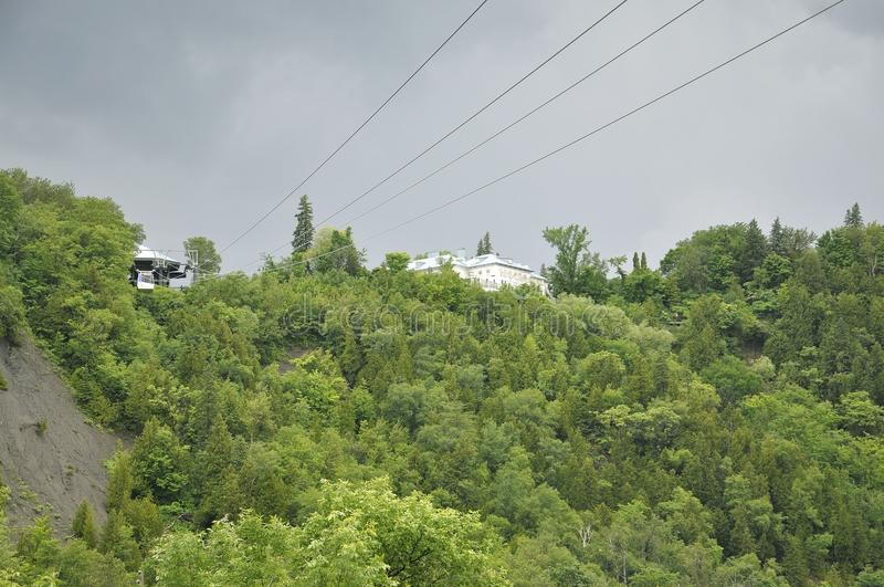 Cable Cabin above Montmorency Falls from Quebec Province in Canada stock photography