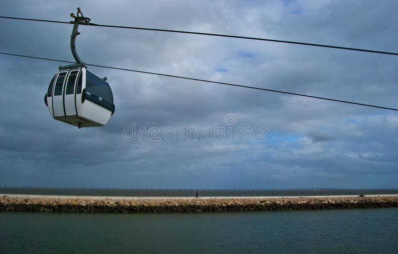 Download Cable car above the Tejo stock photo. Image of pair, portuguese - 24575742