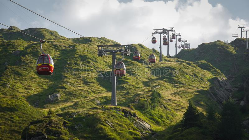 Cable car in Alps Austria Kaprun. Gondel cable car in Alps Austria Kaprun stock photography