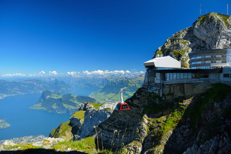 Cable car approach to the top of Pilatus mountain from Luzern, S royalty free stock photo