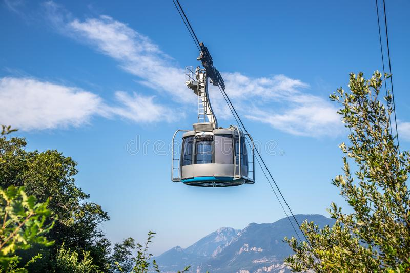 Cable car on a beautiful summer day, landscape monte baldo, lago di garda. Mountain, ropeway, cabin, outdoors, hiking, sightseeing, cable, car, lago, di, garda royalty free stock images