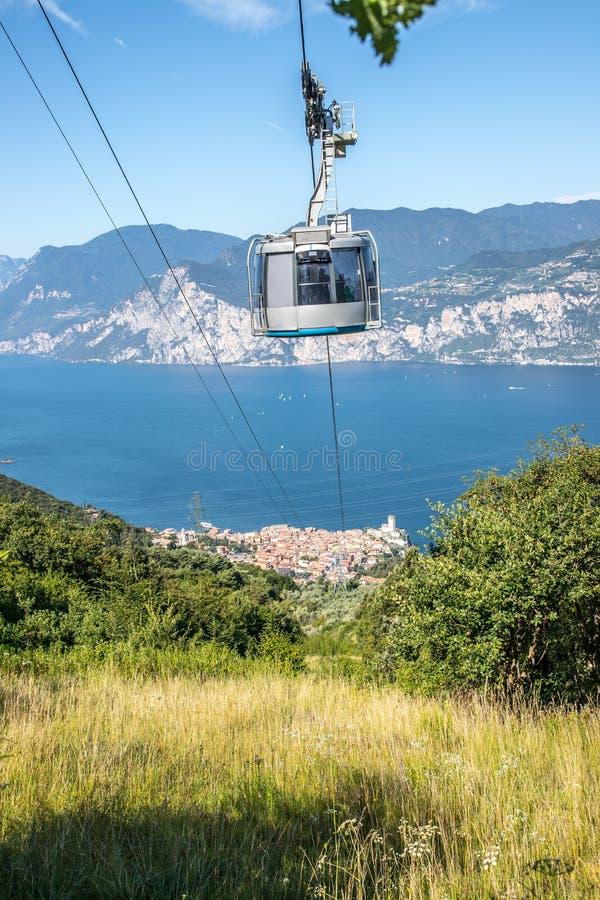 Cable car on a beautiful summer day, landscape monte baldo, lago di garda. Mountain, ropeway, cabin, outdoors, hiking, sightseeing, cable, car, lago, di, garda stock photography