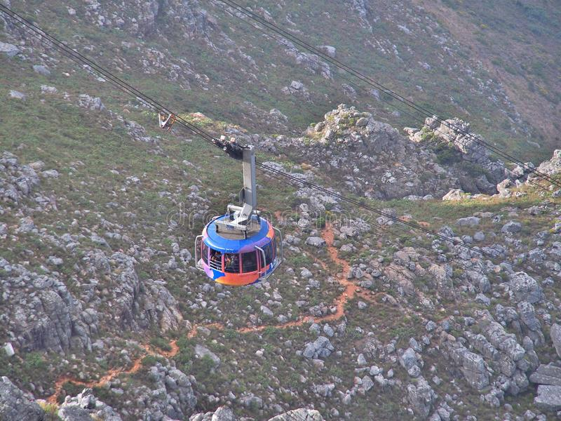 The cable car brings many tourists up to the Table Mountain National Park stock images