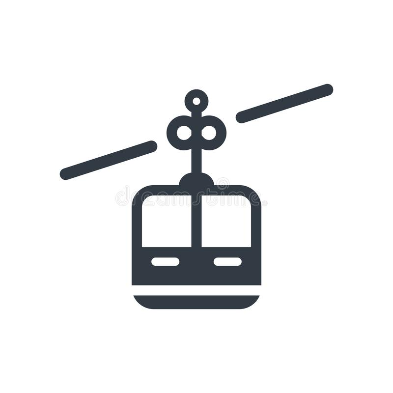 Cable car cabin icon vector sign and symbol isolated on white ba stock illustration