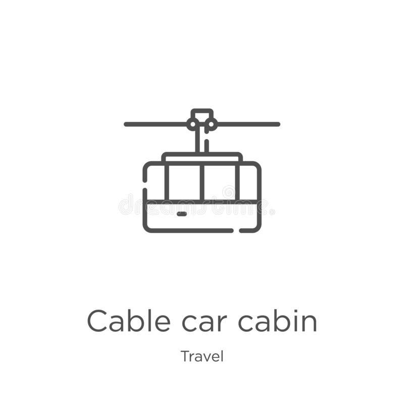 Cable car cabin icon vector from travel collection. Thin line cable car cabin outline icon vector illustration. Outline, thin line. Cable car cabin icon. Element stock illustration