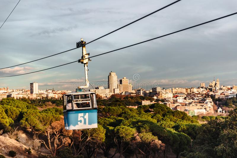 Cable car and cabin over park in Madrid stock images