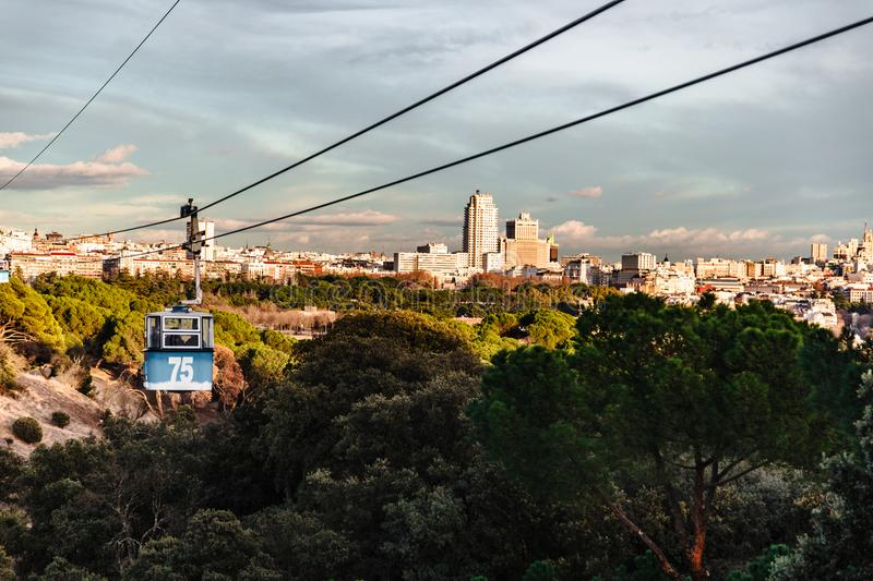 Cable car and cabin over park in Madrid stock photography