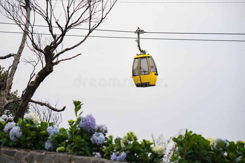 Cable car with flowers and dry tree on foreground royalty free stock photos