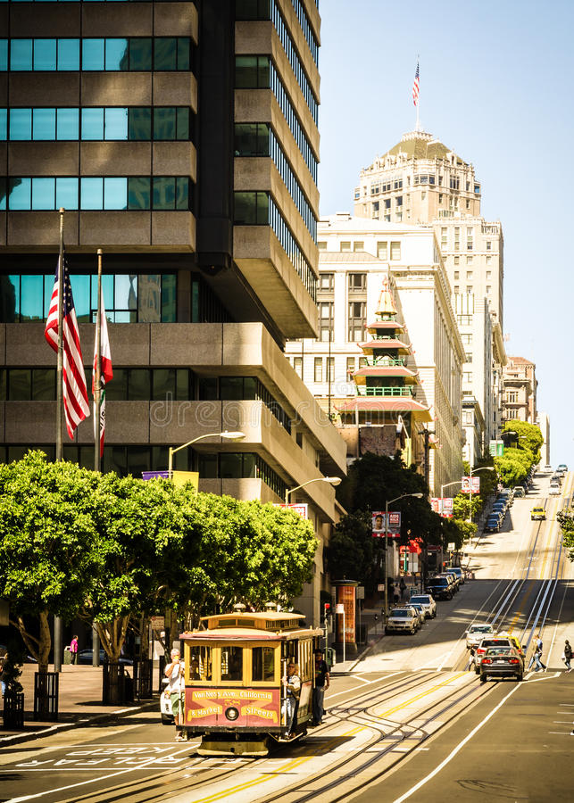 Cable Car going downhill royalty free stock image