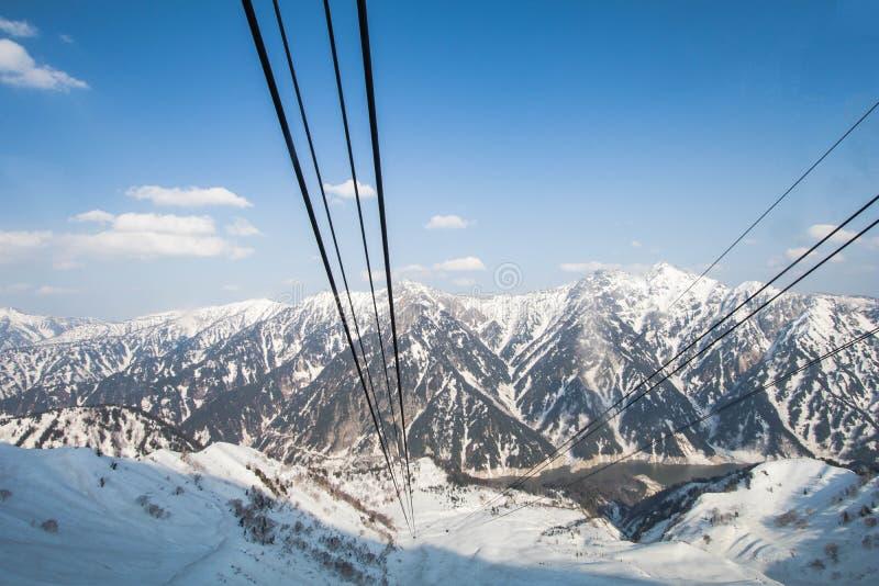 Cable car going to Tateyama Kurobe Alpine Route stock photo