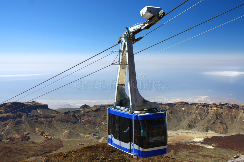 Cable-car going up to peak of Teide royalty free stock photography