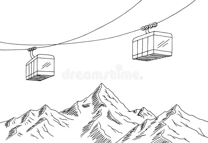 Cable car graphic mountain black white landscape sketch illustration. Vector stock illustration