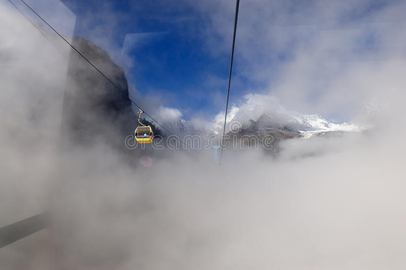 Download Cable Car in Hailuogo editorial stock image. Image of hailuogou - 18343719