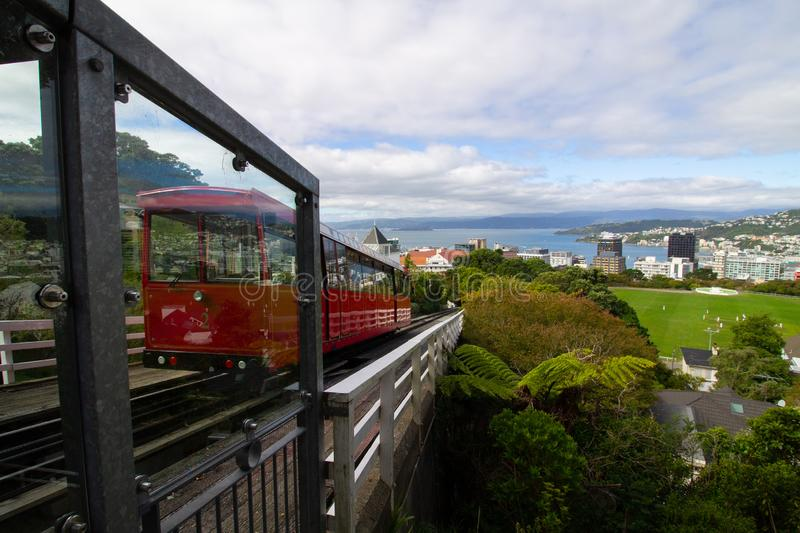 Cable car heading to Wellington from top of mountain royalty free stock photography