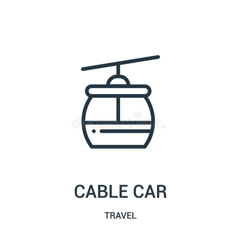 cable car icon vector from travel collection. Thin line cable car outline icon vector illustration. Linear symbol for use on web royalty free illustration