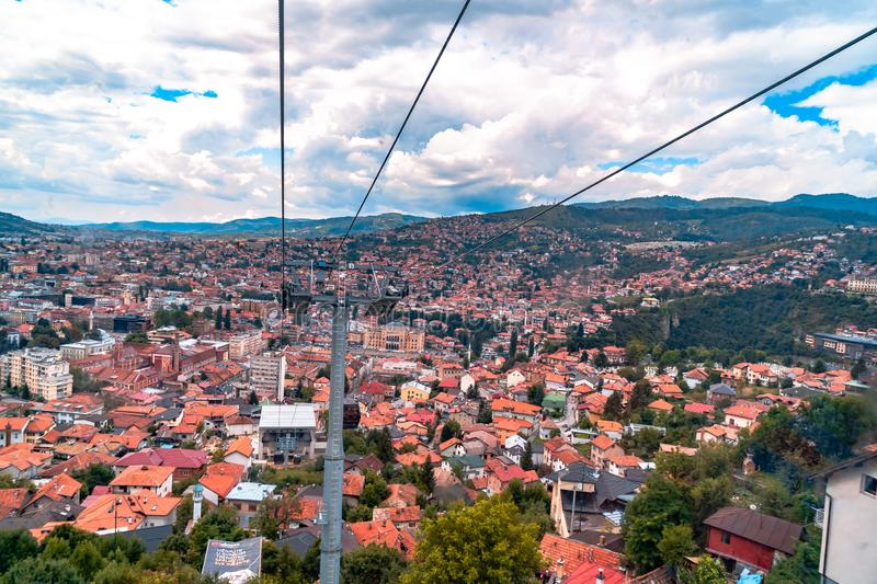 Cable Car Lift from City Center to Trebevic. Cable car lift from the center of Sarajevo to Trebevic Mountain in Bosnia and Herzegovina royalty free stock image