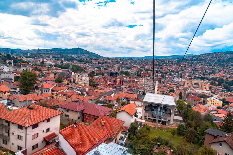 Cable Car Lift from City Center to Trebevic. Cable car lift from the center of Sarajevo to Trebevic Mountain in Bosnia and Herzegovina royalty free stock images