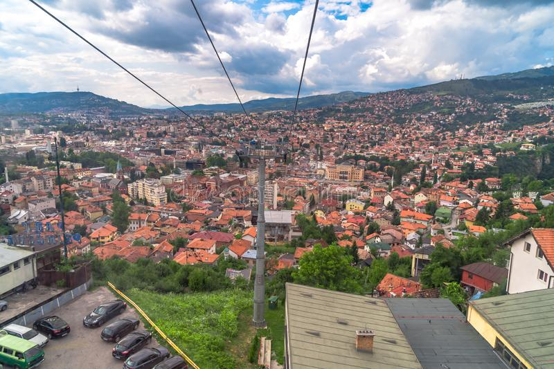 Cable Car Lift from City Center to Trebevic. Cable car lift from the center of Sarajevo to Trebevic Mountain in Bosnia and Herzegovina royalty free stock photos