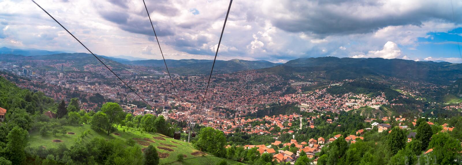 Cable Car Lift from City Center to Trebevic. Cable car lift from the center of Sarajevo to Trebevic Mountain in Bosnia and Herzegovina stock photo