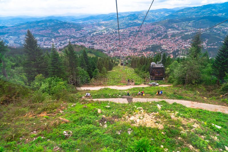 Cable Car Lift from City Center to Trebevic. Cable car lift from the center of Sarajevo to Trebevic Mountain in Bosnia and Herzegovina stock photos