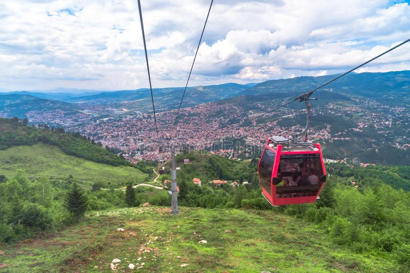 Cable Car Lift from City Center to Trebevic. Cable car lift from the center of Sarajevo to Trebevic Mountain in Bosnia and Herzegovina stock images