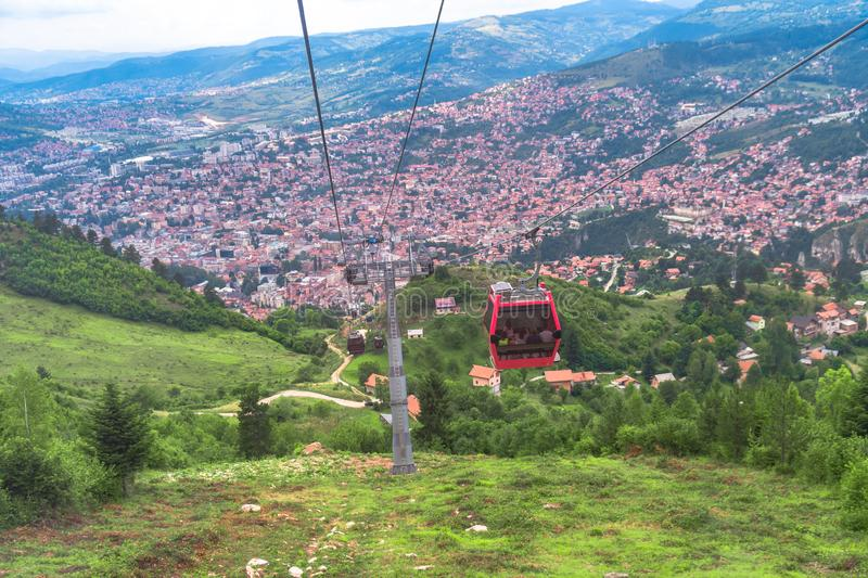 Cable Car Lift from City Center to Trebevic. Cable car lift from the center of Sarajevo to Trebevic Mountain in Bosnia and Herzegovina royalty free stock photo