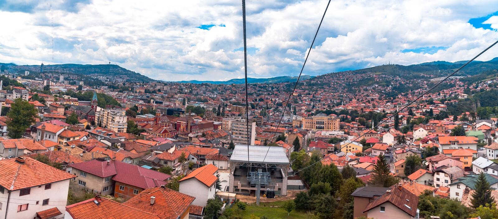 Cable Car Lift from City Center to Trebevic. Cable car lift from the center of Sarajevo to Trebevic Mountain in Bosnia and Herzegovina stock photography