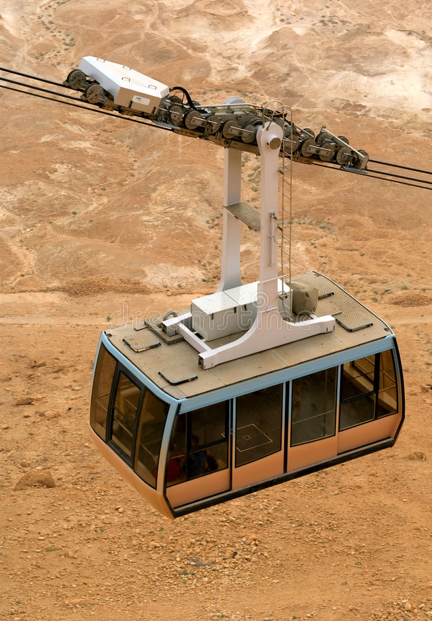 Cable car in Masada royalty free stock images
