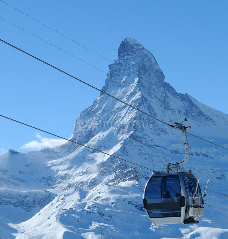 Cable car and Matterhorn. Aerial cable car or gondola with the famous Matterhorn in the background stock photography
