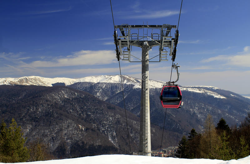 Cable car in the mountains stock photography
